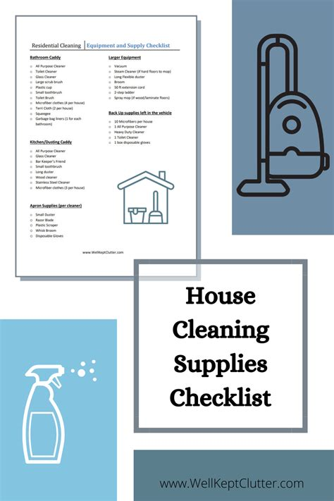 house cleaning supplies checklist for services in
