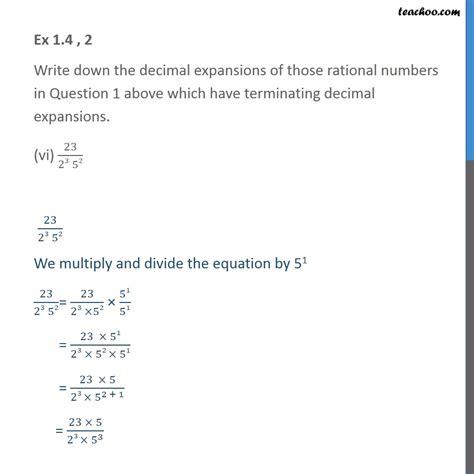 ex 1 4 2 decimal expansion of 13 3125 17 8 64 455 15