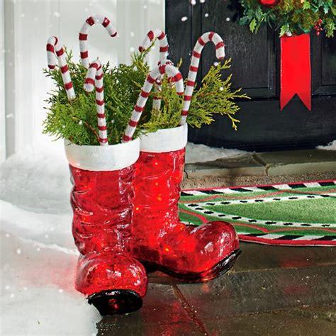 illuminated santa boots outdoor scene grandin road