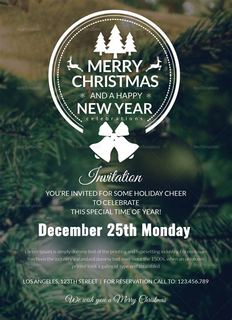 Frost Christmas Party Invitation Card Template in Adobe