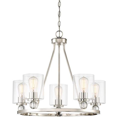 clear glass chandelier minka lavery studio 5 collection 5 light polished nickel