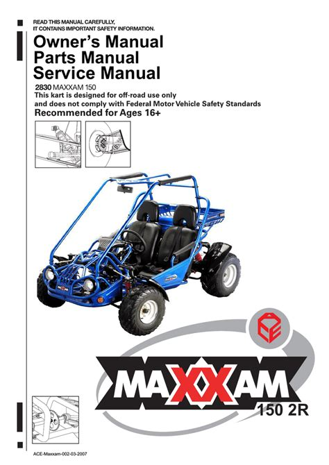 Ace Sports Maxxam 150 2R Owner`s manual