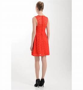 robe dentelle sans manche morgan en rouge pour femme With robe dentelle morgan