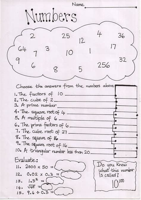 free numbers worksheet for middle school ks3 mr