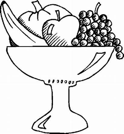 Fruit Salad Bowl Coloring Pages Basket Drawing