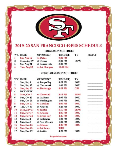 printable san francisco ers schedule