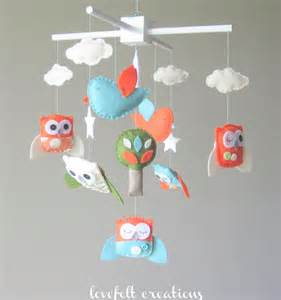 Baby mobile - owl mobile - baby mobile owls - clouds mobile