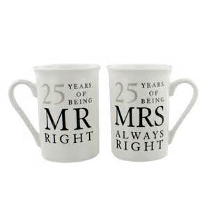 25 year wedding anniversary 25th silver wedding anniversary mr mrs mug gift set 25 years of being mr right mrs always right