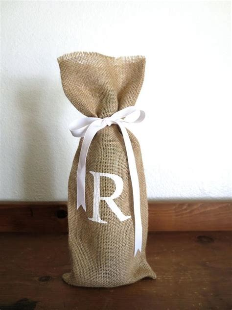 custom monogram burlap gift bag personalized wine gift bag