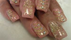 Classy gold glittery nail designs godfather style