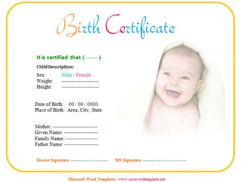 baby birth certificate template certificate templates