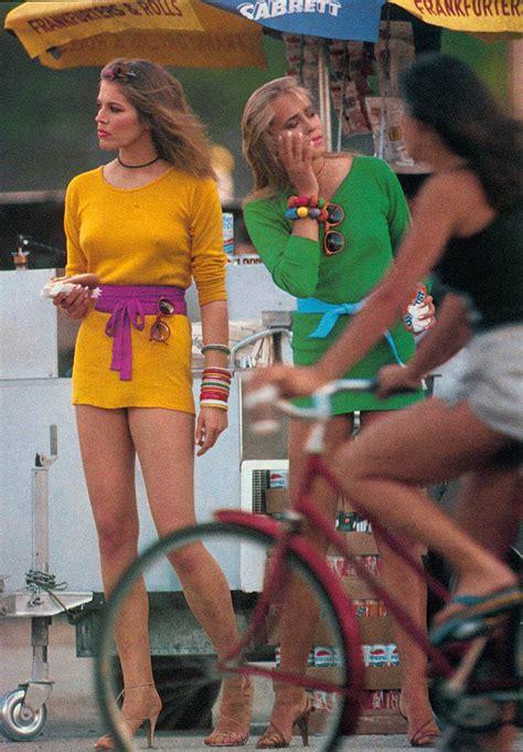 vintage   girls  mini skirts  bikes vintage