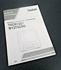 Vtg Symphonic Tvcr13g1 Owners Manual Tv Vhs Vcr Combo