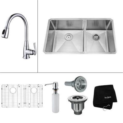 home depot kitchen sink accessories kraus all in one undermount stainless steel 33 in double