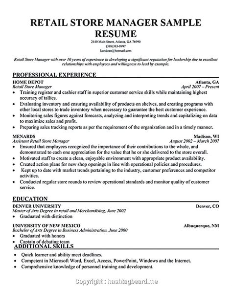 Resume Templates For Retail Management by Simply Retail Manager Resume Sle Auto Parts Manager