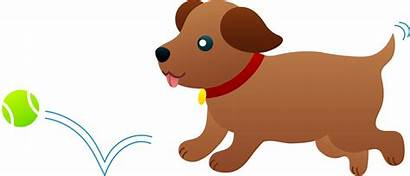 Clipart Dog Puppy Ball Chasing Clipartion