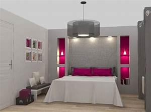 Chambre grise et fushia idees deco pour une chambre moderne for Idee deco cuisine avec lit gonflable