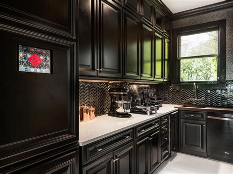 kitchen black kitchen cabinets and lowes backsplash also white countertops with window