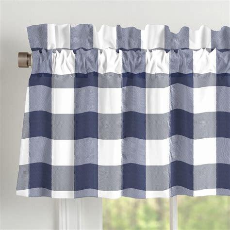 navy buffalo check curtains navy and white buffalo check window valance rod pocket