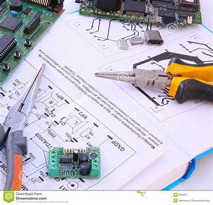 Electronic Circuit And Tools Stock Image