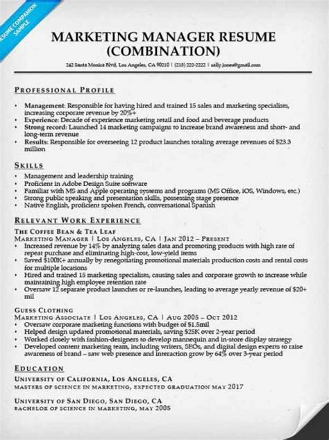 marketing manager resume sle resume companion