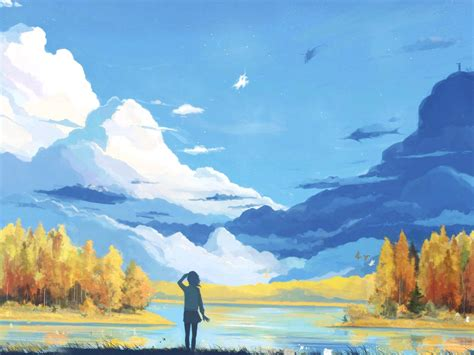 digital art fall scenery painting backgrounds