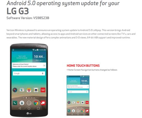 lg android update verizon lg g3 gets the android 5 0 update the android soul