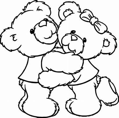 Hug Coloring Bear Boy Hugging Drawing Pages