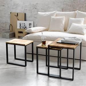 Table Gigogne Industriel : tables gigogne lot de 3 en noyer massif about et acier ~ Teatrodelosmanantiales.com Idées de Décoration