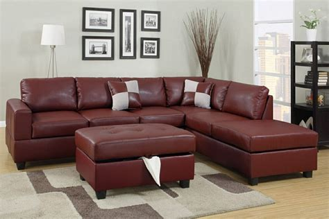 pcs burgundy leather sofa sectional ottoman included