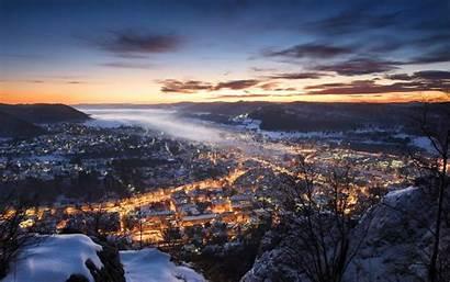 Winter Snow Europe Landscape Germany Lights Sunset