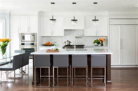 gray counter stools transitional kitchen jodie rosen