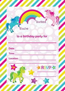 Fill In Birthday Party Invitations  Printable Rainbows And Unicorns Invitations  Blank Party