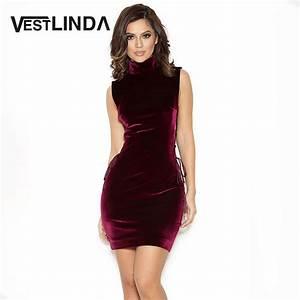 side lace up mini velvet dress women sexy sleeveless With robe col bénitier