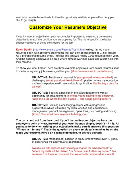 What Should Your Objective Be On Your Resume by Guide To Resume Writing