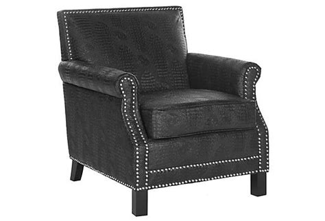 Taylor Club Chair, Black Crocodile On Onekingslane.com Wedding Chairs Dining With Wheels For Elderly Standing Desk Chair Stool High Safety Straps Pride Lift Parts Hand Control And Ottoman Slipcovers Set Stackable Resin Wicker Blue Velvet Nz