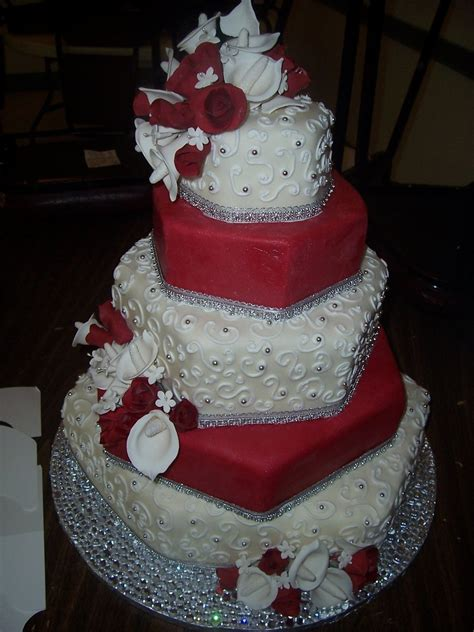 Red White And Blingy Hexagon Wedding Cake