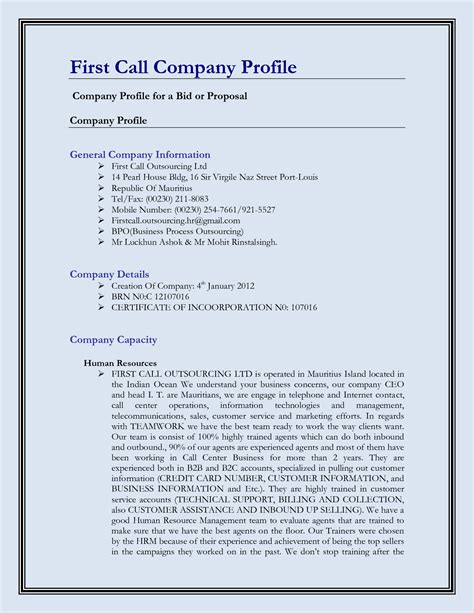 company profiels template business profile template mughals