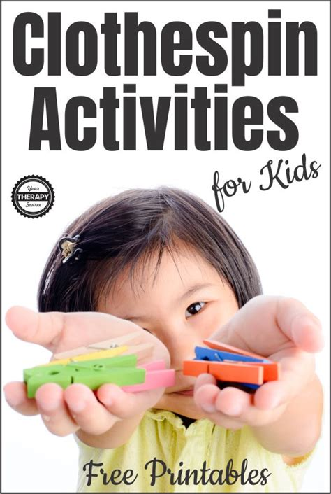 clothespin activities for kids pin Your Therapy Source
