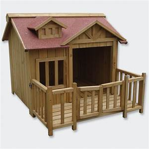 Xl outdoor dog kennel dog house with veranda massive wood for Xxl dog house