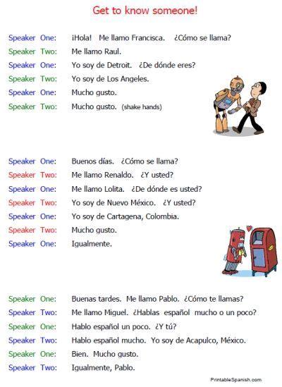 beginning conversations handouts spanish conversation