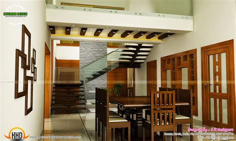 staircase bedroom dining interiors kerala home design  floor plans