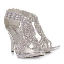 silver shoes for wedding silver womens diamante wedding high heel prom shoes sandals uk size ebay