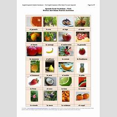Spanish Food Vocabulary Fruit