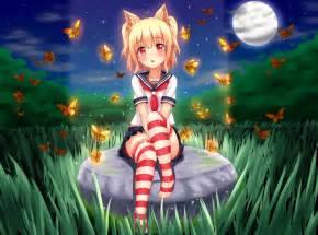 Short, Hair, Blonde, Cat, Girl, Anime, Anime, Girls, School, Uniform, Skirt, Stockings, Animal, Ears