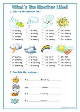 esl weather worksheets  kindergartners