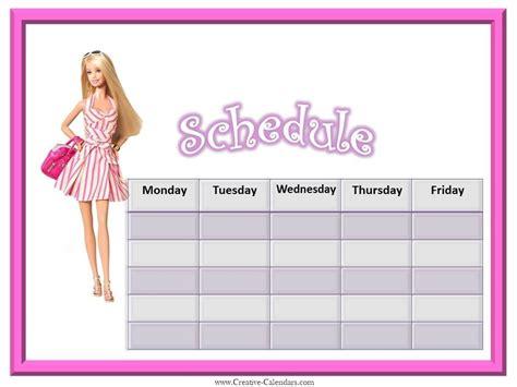 weekly calendars  girls