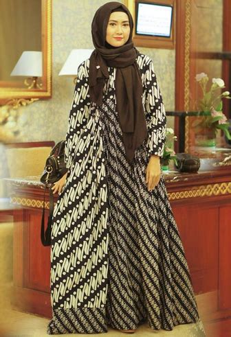 gamis batik kombinasi fashion   kaftan batik