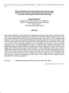 Aplikasi Data Mining Perhitungan Frekuensi Data Pemutaran