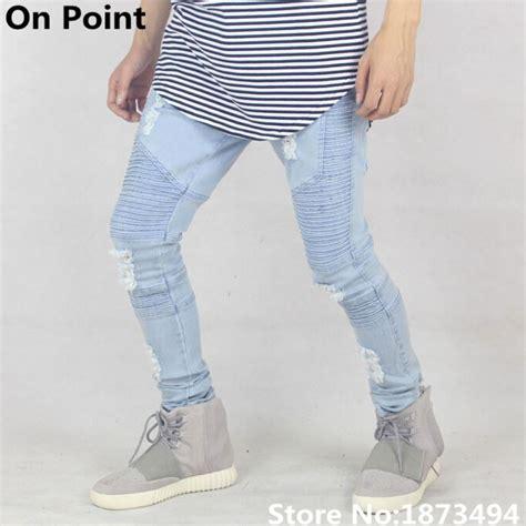 light blue jeans mens slim fit usa size cool brand designer mens distressed light blue